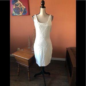 AMANDA UPRICHARD white jacquard detail dress